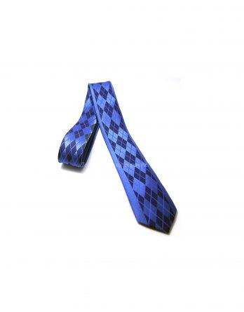 Галстук Classic синего цвета, украшен узором в виде ромбов