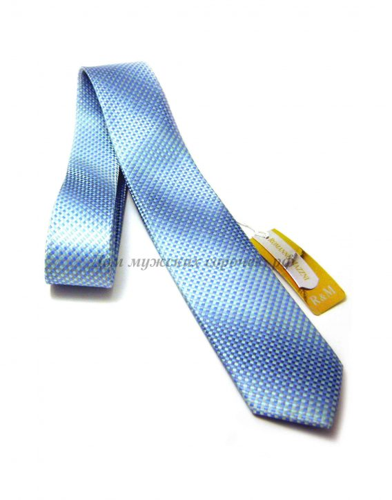 Галстук мужской Romanno Mazzni голубого цвета, украшен превосходным геометрическим узором
