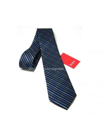 Галстук мужской Vester черного цвета, узор в виде полос бирюзового цвета