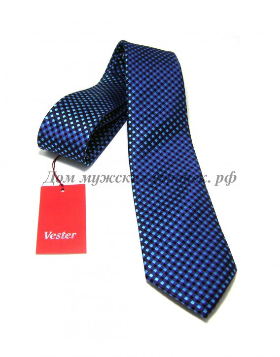 Галстук мужской Vester синего цвета, яркий и стильный узор
