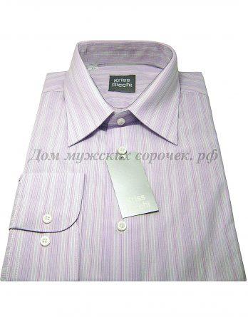 Мужская рубашка Kriss Ricchi сиреневого цвета, в полоску, длинный рукав