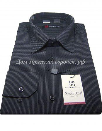 Мужская рубашка Nicolo Angi черного цвета, в полоску, с длинным рукавом
