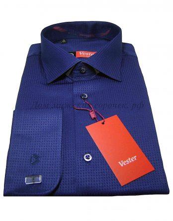 Мужская рубашка Vester, темно-синего цвета, ткань с выработкой, рукав длинный