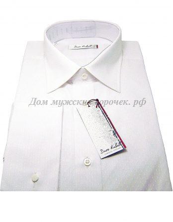 Мужская сорочка Dave Raball белого цвета, ткань с выработкой, рукав длинный