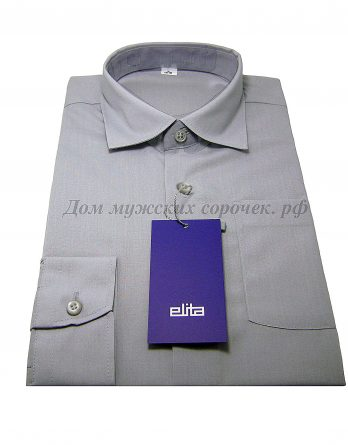 Мужская сорочка Elita, серого цвета, рукав длинный