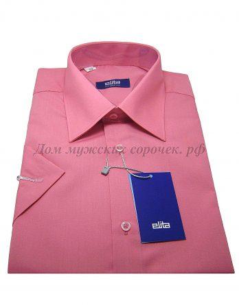 Мужская сорочка Elita темно-розового цвета, рукав короткий