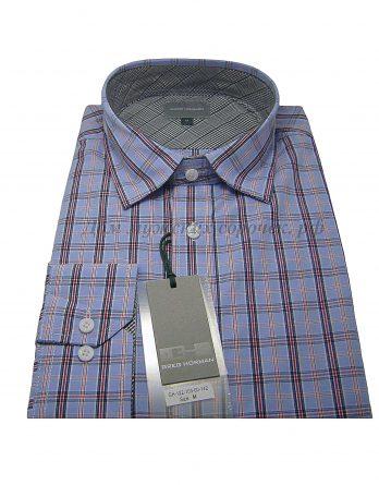 Мужская сорочка Greg Hörman темно-голубого цвета, в клетку, рукав длинный