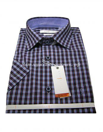 Мужская сорочка Grostyle голубого цвета, в клетку, короткий рукав