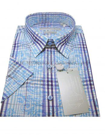 Мужская сорочка Grostyle голубого цвета, в полоску, короткий рукав