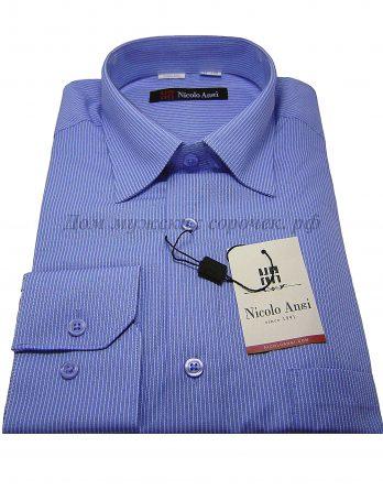 Мужская сорочка Nicolo Angi небесного цвета, в полоску, длинный рукав