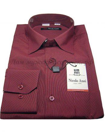 Мужская сорочка Nicolo Angi, цвета вишни, в полоску, рукав длинный