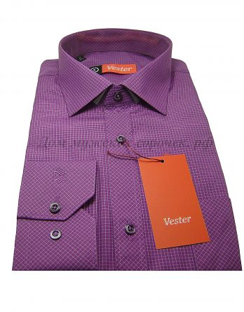Мужская сорочка Vester фиолетового цвета, в белую клетку, с длинным рукавом