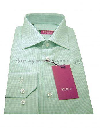 Мужская сорочка Vester мятного цвета, в клетку, рукав длинный