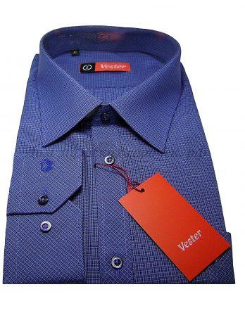 Мужская сорочка Vester синего цвета, в клетку, длинный рукав