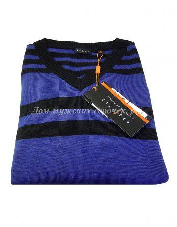 Синий мужской свитер в полоску