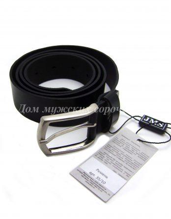 Черный кожаный ремень JMS с гладкой поверхностью