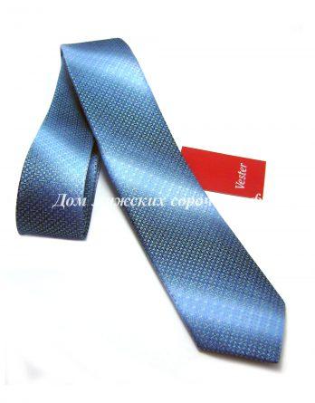 Галстук мужской Vester голубого цвета, в темную полоску геометрической формы (2)