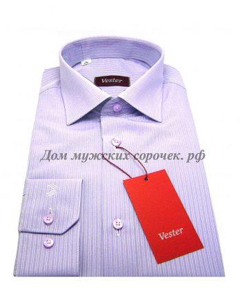 Мужская сорочка Vester сиреневого цвета, в полоску, длинный рукав