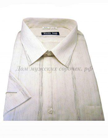 Мужская сорочка Nicolo Angi бежевого цвета, рукав короткий