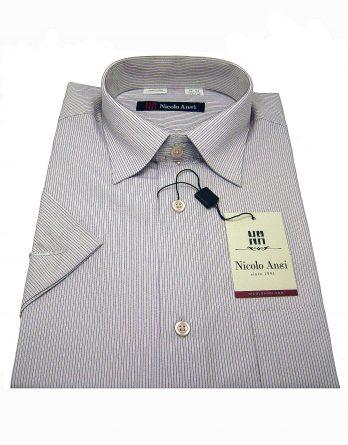 Мужская сорочка Nicolo Angi бледно-сиреневая, с коротким рукавом