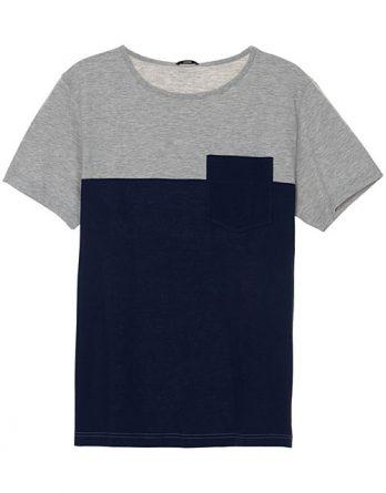 Мужская  футболка двухцветная, круглый вырез