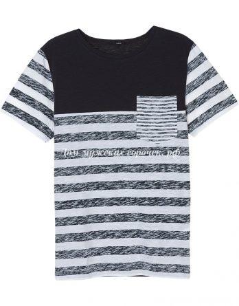 Мужская футболка с принтом в полоску, круглый вырез