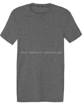 Мужская футболка серого цвета, круглый вырез