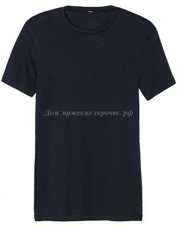 Мужская футболка темно-синего цвета, круглый вырез
