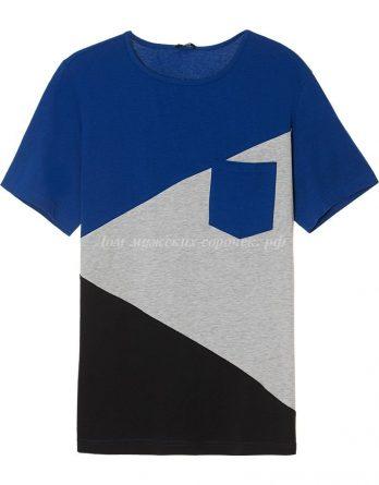 Мужская трехцветная футболка, круглый вырез