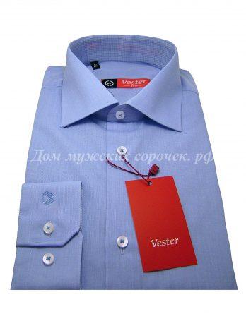 Мужская сорочка Vester голубого цвета, длинный рукав, ткань с выработкой