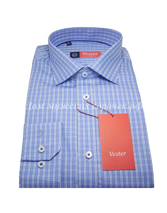 Мужская рубашка Vester голубого цвета в белую клетку