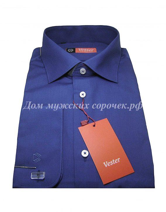 Мужская рубашка Vester сине-серого цвета, однотонная, рукав под запонку