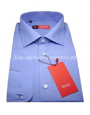 Мужская рубашка Vester темно-голубого цвета, однотонная, рукав под запонку