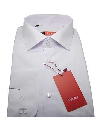 Мужская рубашка Vester белого цвета, однотонная, рукав длинный