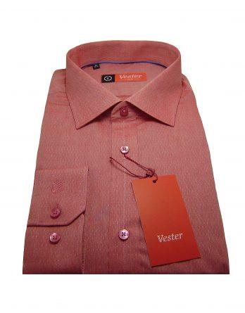 Мужская рубашка Vester темно-розового цвета с принтом, рукав длинный