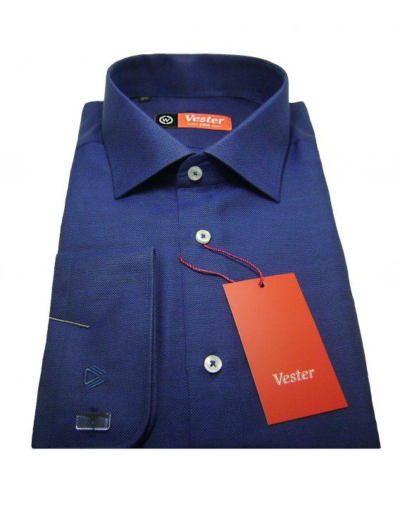 Мужская рубашка Vester темно-синего цвета, рукав длинный
