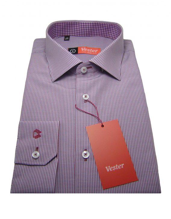 Мужская рубашка Vester в красно-бело сиреневую клетку, рукав длинный